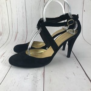 J. Crew Black Suede Heels Size 9